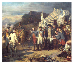 Siege de Yorktown by Auguste Couder, c.1836. Rochambeau and Washington giving their last orders before the battle.